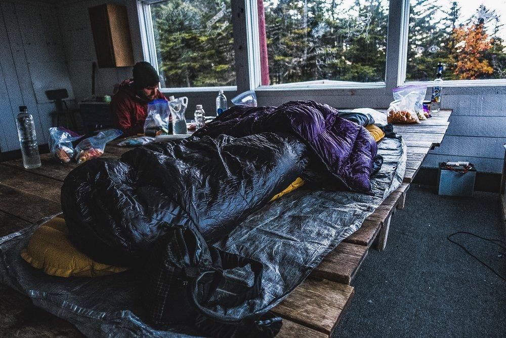 Sleep set up in Castle Rock Ski Hut.