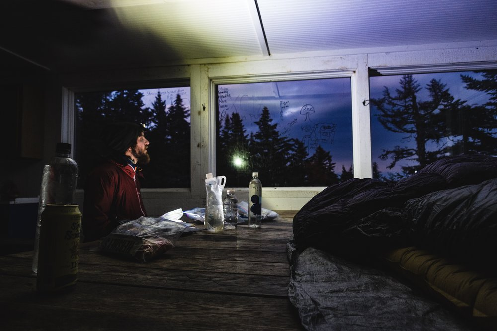 Here's a photo of Scooter illuminating the Ski Hut with his headlamp.