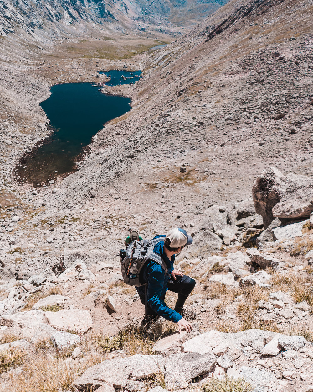 Reptar ascending the talus and scree field