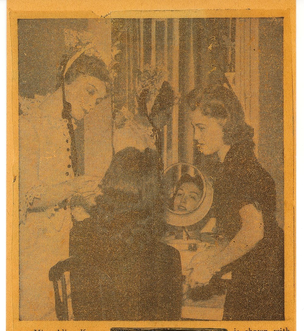 Mom (in mirror), Miss Gish on the left
