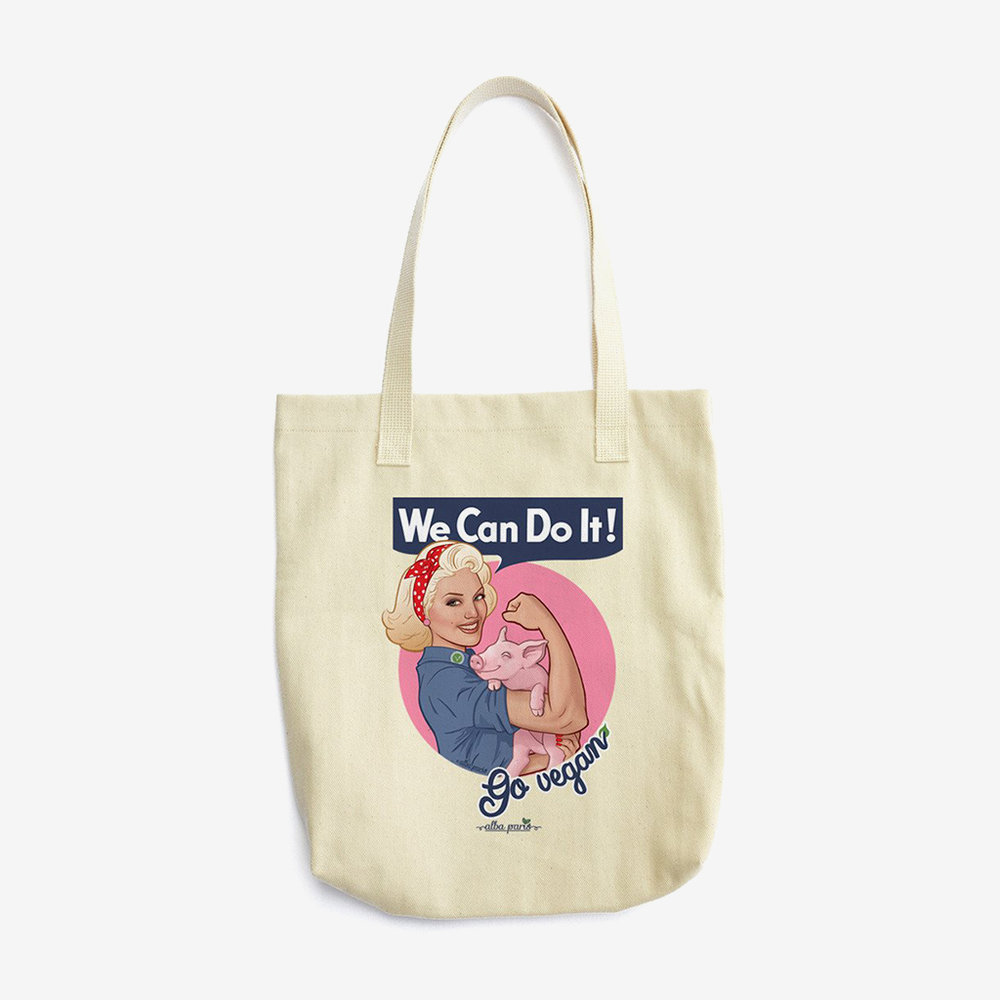 we can do it go vegan tote.jpg