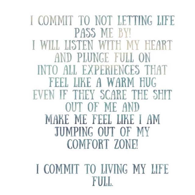 Affirmation of the day:  I commit to NOT letting life Pass me by! I will listen with my heart And plunge full on Into all experiences that Feel like a warm hug Even if they scare the shit Out of me and Make me feel like I am Jumping out of my Comfort zone!  I COMMIT TO LIVING MY LIFE FULL. #moonvibe #moonvibeguide #aquariusnation #rainbowtribe #rainbowtriberise #astrology #livelife
