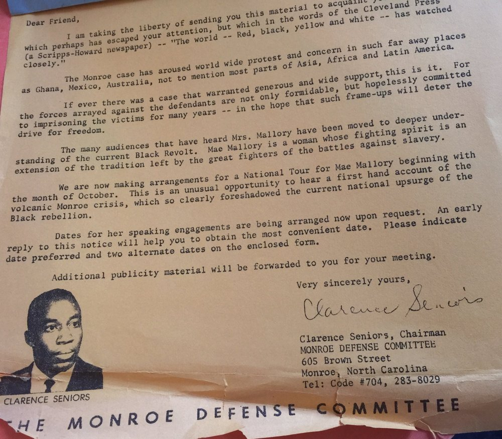 Monroe Defense Committee Flyer, Clarence Henry Seniors Papers. COPYRIGHT