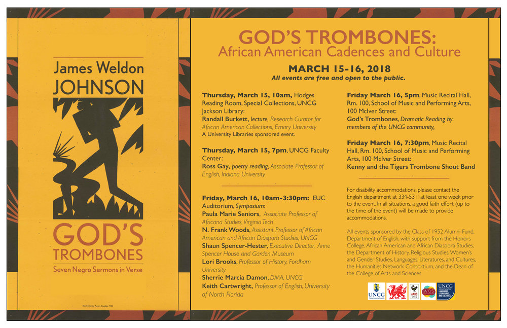 "EVENT:  ""God's Trombones: African American Cadences and Culture"" Symposium, March 15-16, Open to the Public   My Talk:  ""Bleeding Moon,"" Cole and Johnson's The Red Moon (1908-1910) and James Weldon Johnson's God's Trombones"" Lecture Demonstration.  The beautiful singer Krystal, the pianist Esther Tinsort who played for ""Mama I Want To Sing,"" and the finale Cakewalk Dance done by Daliana Dance Company   Date:  Friday March 16, 2018   Time:  10 Am   Place:  EUC Auditorium, UNC Greensboro, North Carolina   Reception:  9:30 AM"