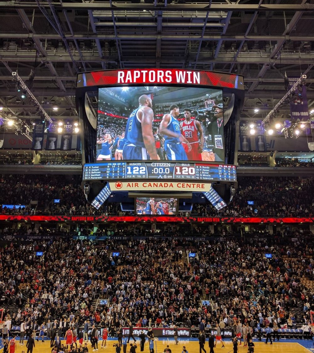 toronto raptors win over the chicago bulls 122-120 tuesday night ending an 11 game losing streak. photo taken by vanessa nerit for the post up.