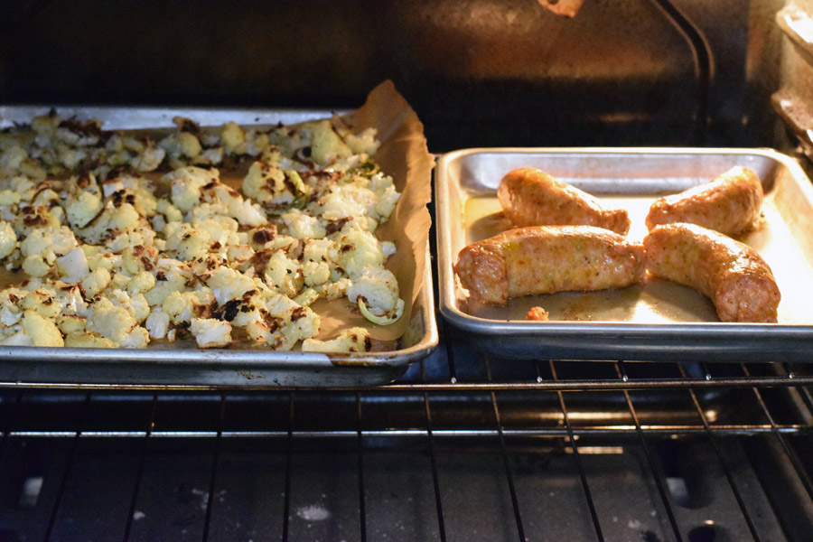 roasting away_sausage and cauliflower.jpg