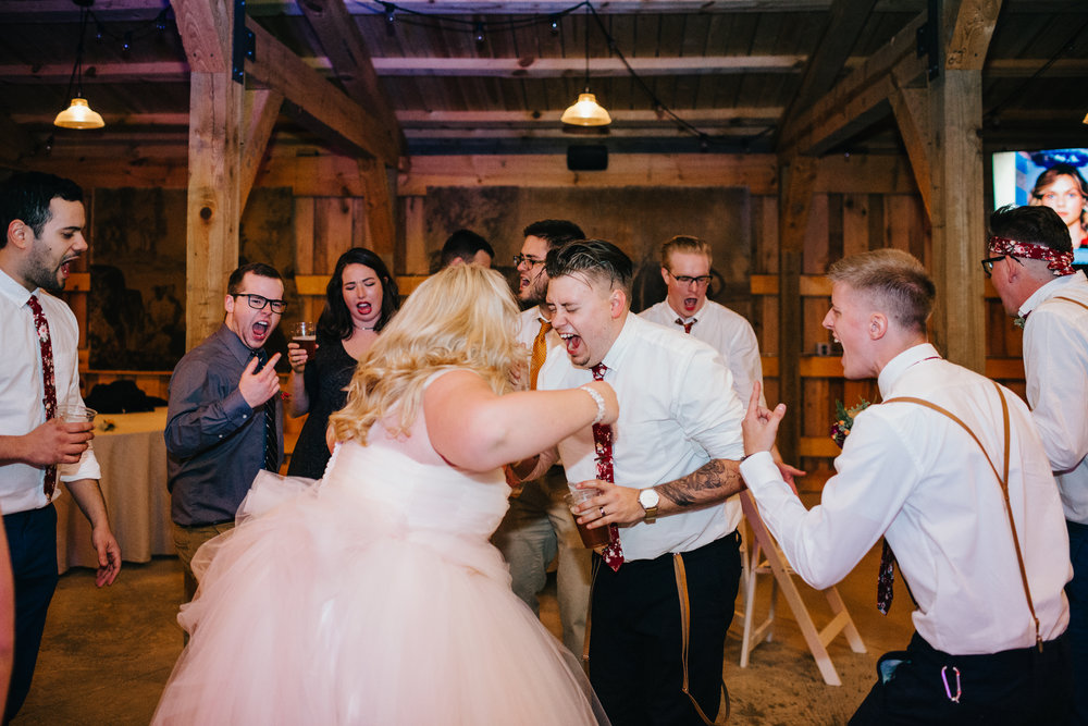 Okay maybe not, but we're pretty fun.  P.S. You play pop punk, Outkast, 2000s rap, or Toby Keith at your wedding, you're likely to see the above scene, we're not about to fistfight, I swear. PC: Erin Morrison Photography