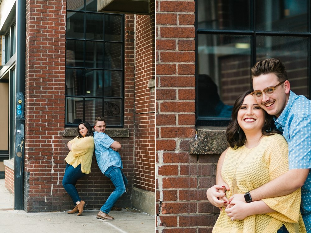 couple funny poses engagement session downtown knoxville