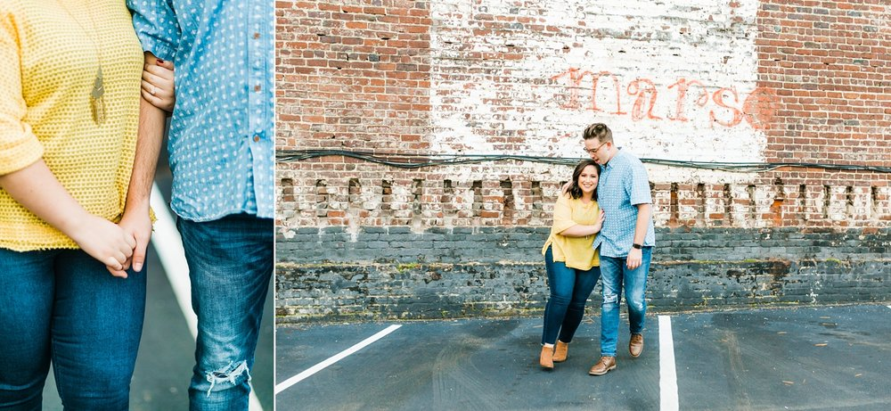 parking lot simple engagement session outside urban taproom