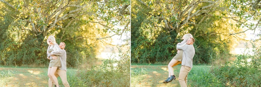 fun engagement session prompts sunset blonde young couple
