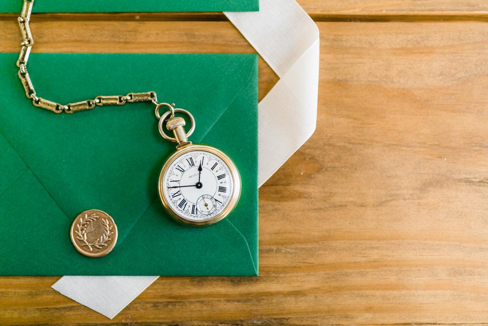 emerald green envelope wedding invitations pocketwatch