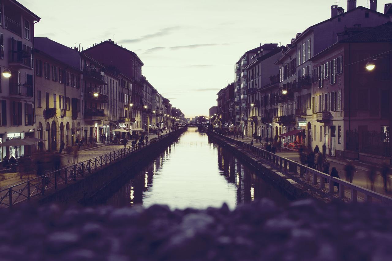 Quiet street along a river