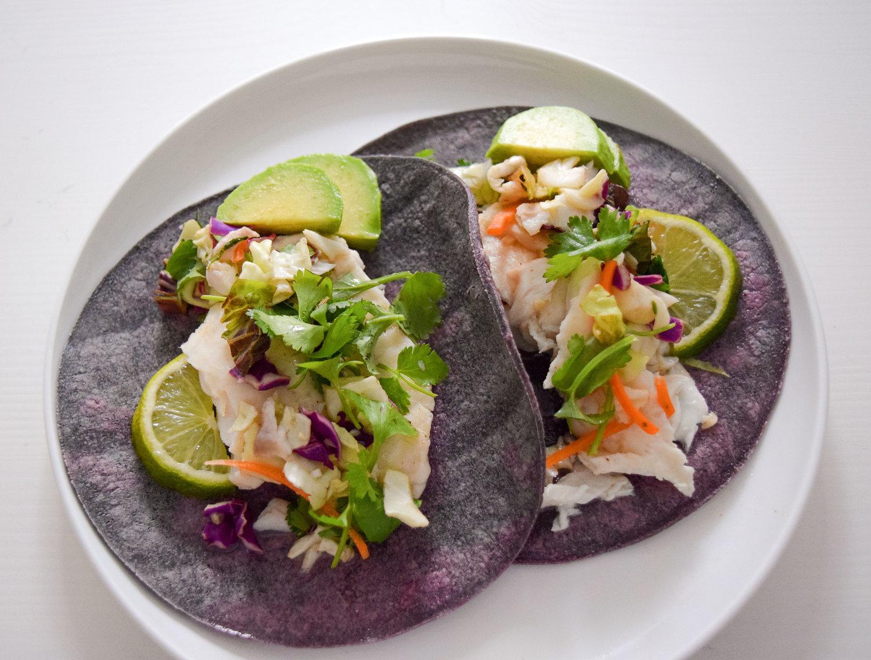 Fish Tacos In Blue Corn Tortillas Locally Simple