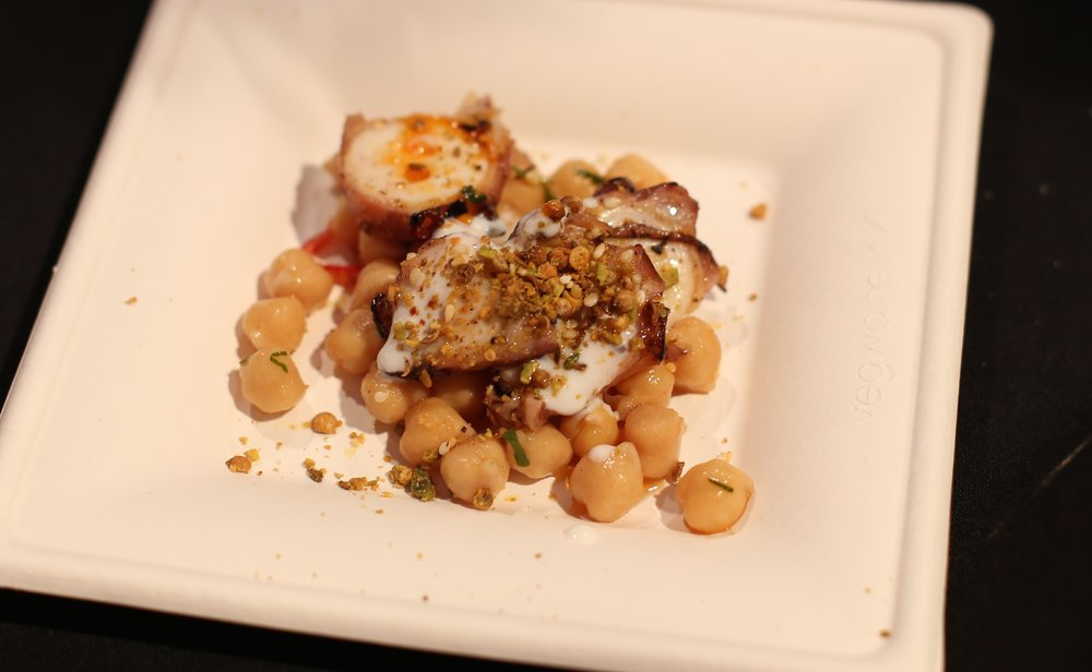 Grilled octopus, Koda Farms chickpea conserva, preserved lemon yogurt & dukkah. Chef Bruce Kalman. Union. Pasadena.