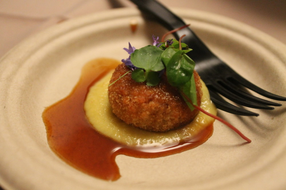 Pig's Head Croquette with Corn Puree. Montage.