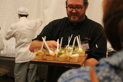 Chef David Lefevre with his incredible take on Shrimp and Grits. MB Post.