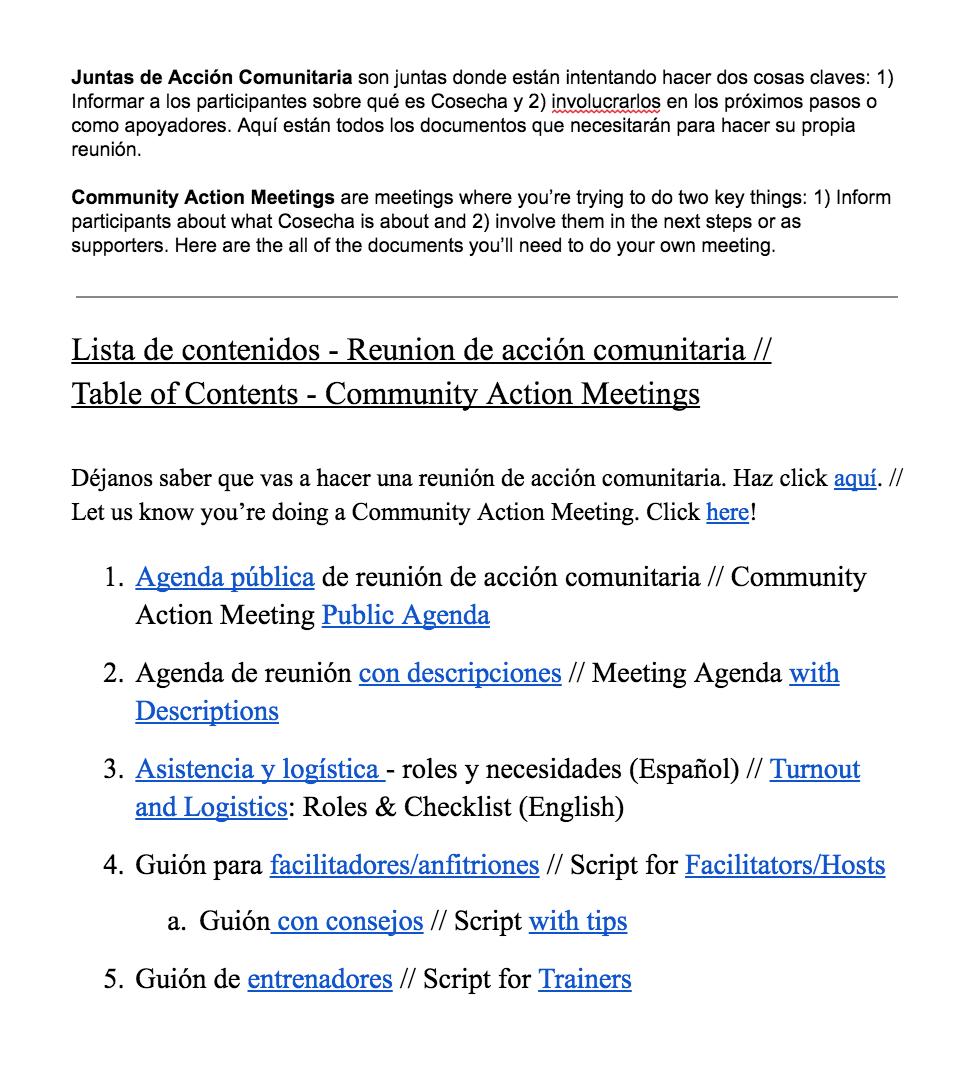 Lista de contenidos para una reunión de acción comunitaria