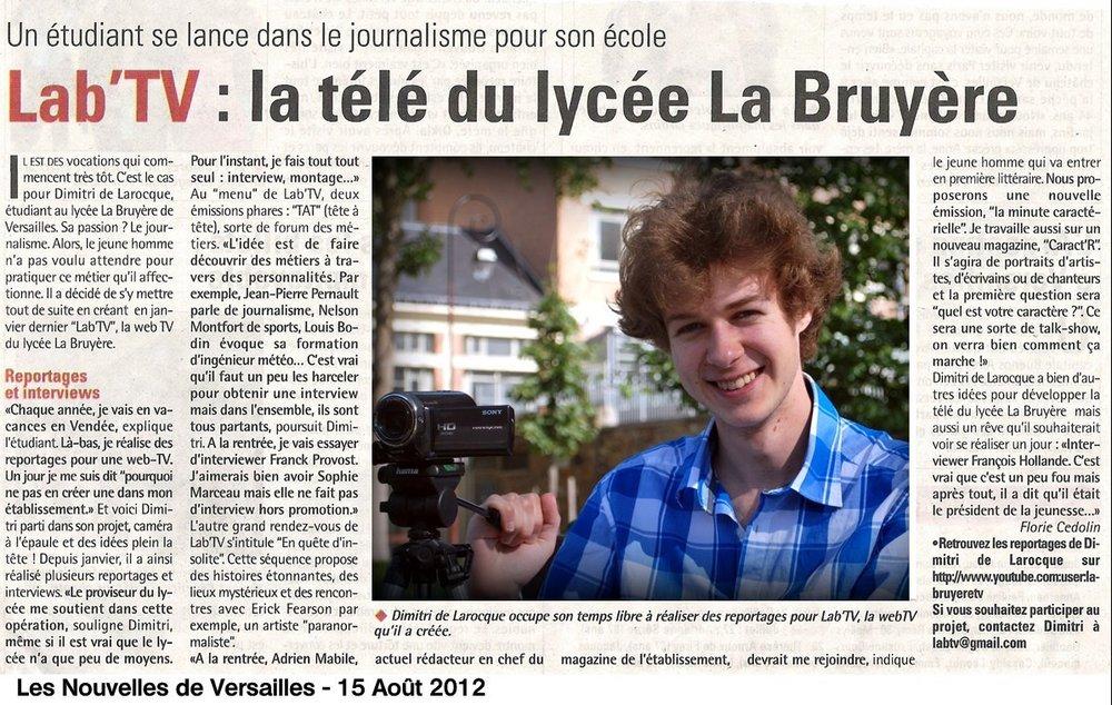 """""""Toutes les Nouvelles de Versailles"""" - 19 Août 2012"""