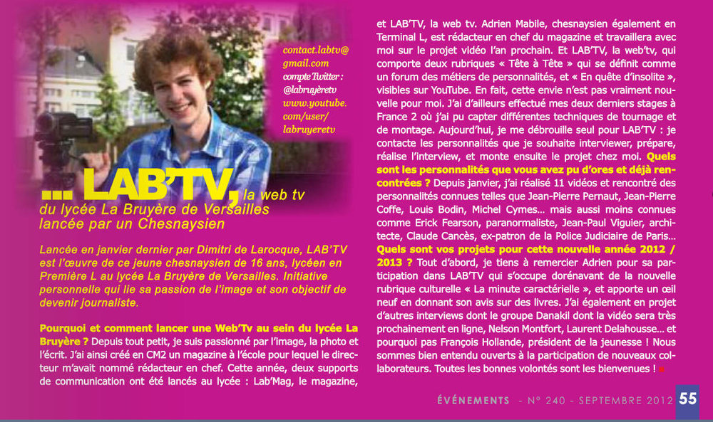 """Evenement"" (magazine de la ville du Chesnay) - Septembre 2012"
