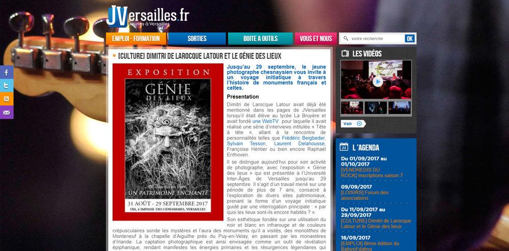 """Site Web  JVersailles.fr  - lundi 11 septembre 2017 / A l'occasion de l'exposition """"Génie des Lieux"""" à l'UIA de Versailles /  http://www.jversailles.fr/article/article/culture-dimitri-de-larocque/"""