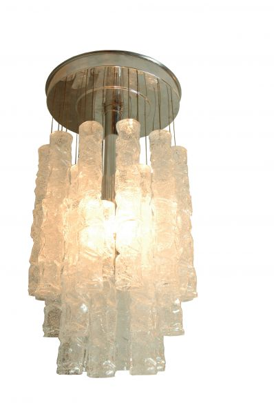 1960s 'Pipe' Glass Chandelier, Murano