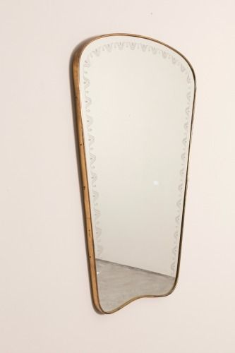 1960s Brass Framed Mirror, Italy     Sold