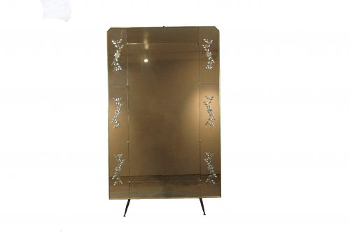 Large Brass-framed, Italian-panelled Mirror with Brass Feet, circa 1950     Sold
