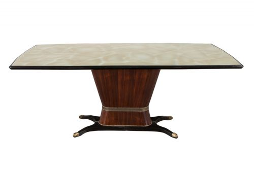 A Rosewood Table with Glass Top by Osvaldo Borsani
