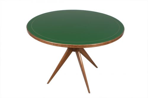 1950s Circular Table with a Green Glass Top, Italy