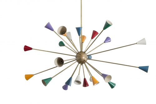 A 24 Arm Sputnik Chandelier with Multi Coloured Enameled Shades