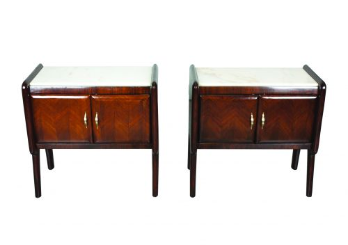 A Pair of Italian Rosewood Bedside Lockers with Marble Tops, Circa 1950
