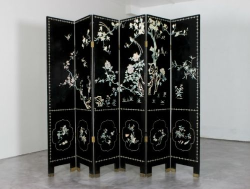 1930s black laquered screen with mother of pearl inlay     Sold