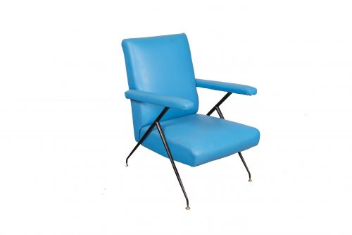 1960s Blue Upholstered Reclining Armchair, Italy