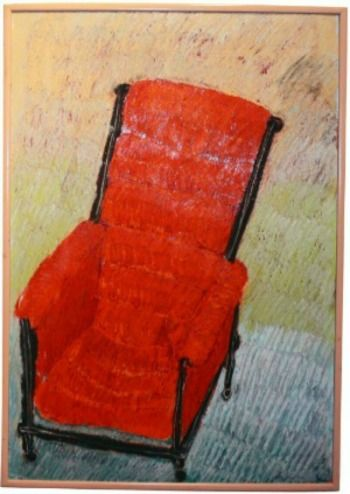TIMOTHY'S CHAIR    OIL PASTELS ON BOARD WITH ARTIST FRAME