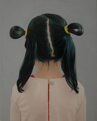 BACK VIEW GIRL WITH BUNS    OIL ON LINEN | 30 CM X 24 CM