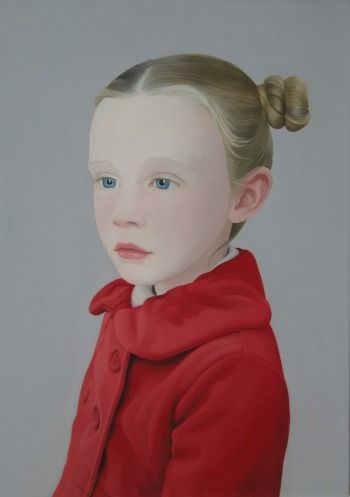 GIRL IN RED COAT    OIL ON BOARD | 30 CM X 21 CM