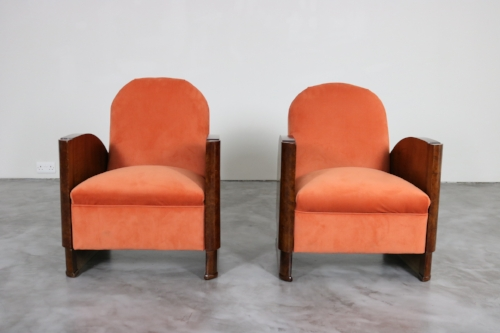 Walnut Art Deco Armchairs