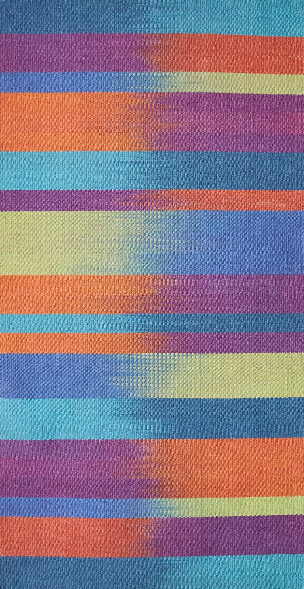 JJ0137   Recycled cotton & linen.  Hand dyed painted weft. 88 x 162 cm.