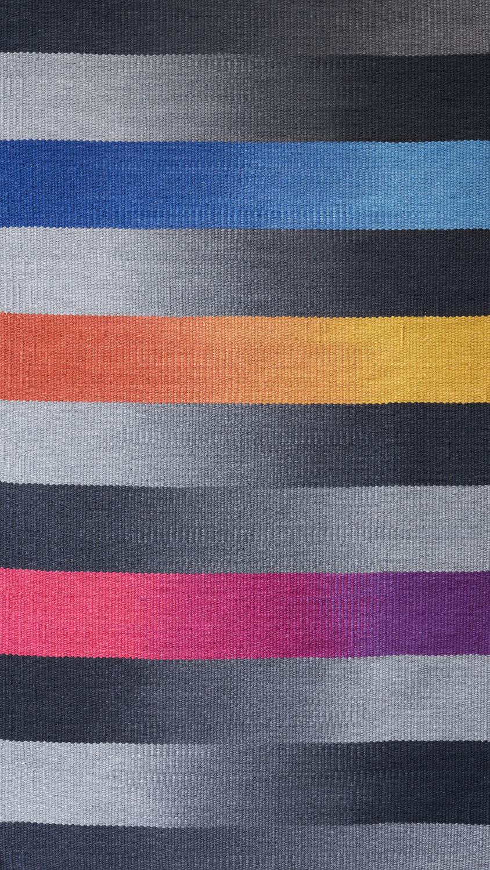 JJ0153  Wool & linen. Hand dyed weft. 94 x 172 cm.