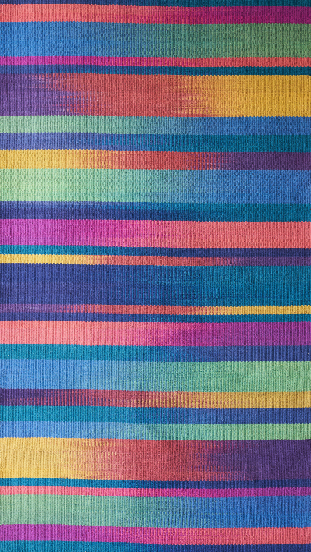 JJ0143  Cotton & linen. Hand dyed weft. 105 x 194 cm.