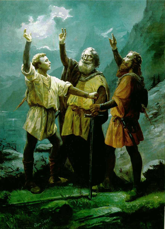Der Schwur auf dem Rütli von Jean Renggli dem Älteren: Der Rütlischwur, 1891 Luzern, Stadt Luzern