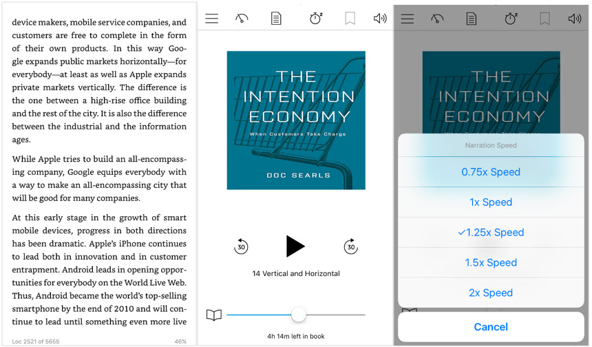 "All Panels from Doc Searls', ""The Intention Economy"" - Kindle page to audio to increase speed of audio playback"