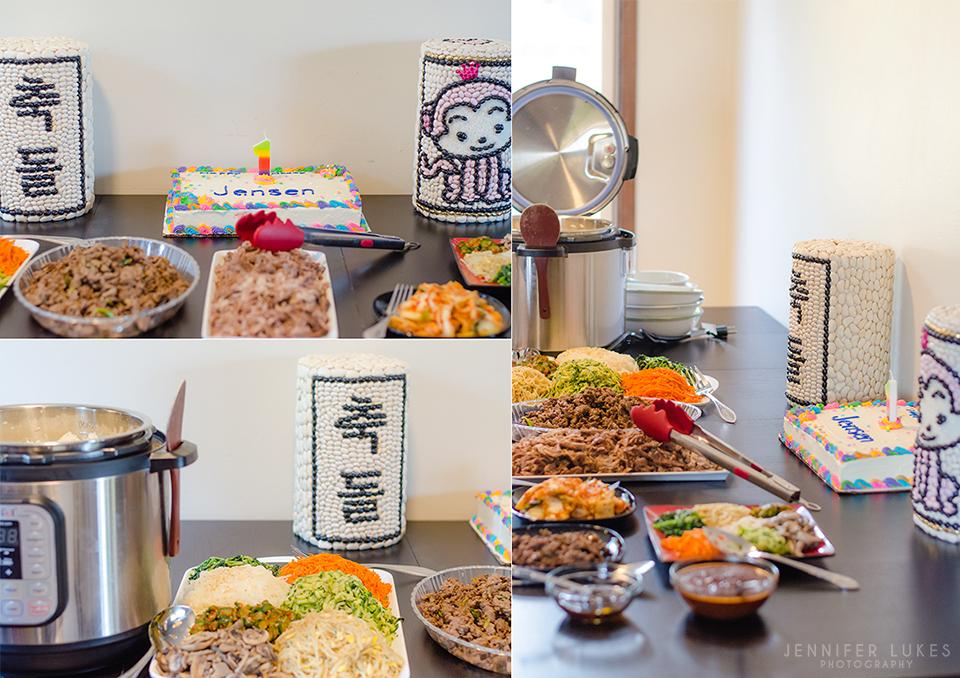 Bellevue first birthday and doljabi Korean food details.