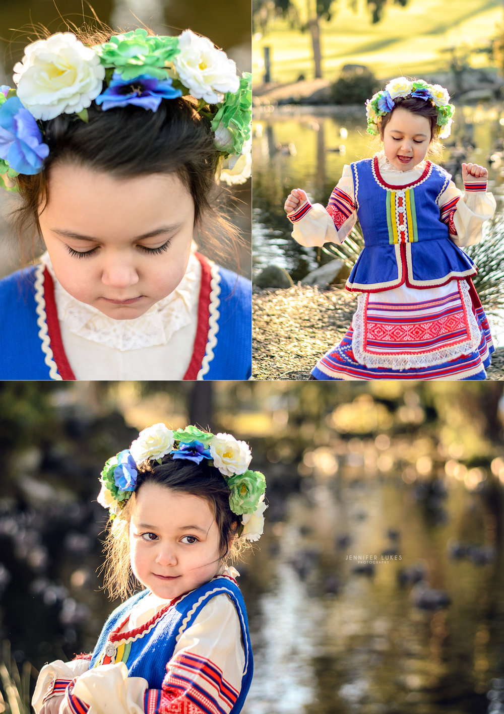 Seattle 4 year old girl wearing an authentic dress from Belarus.