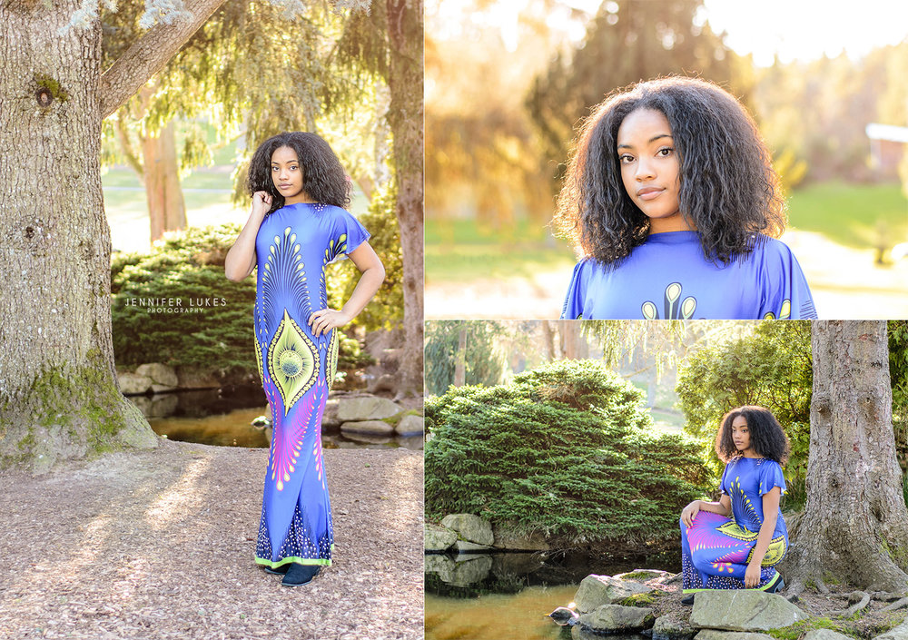 Photos of 13 year old Seattle girl representing her African heritage during an outdoor session.