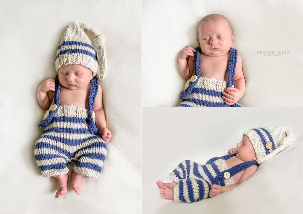 Sammamish in-home posed newborn session with newborn boy wearing blue and cream overalls and sleepy cap.