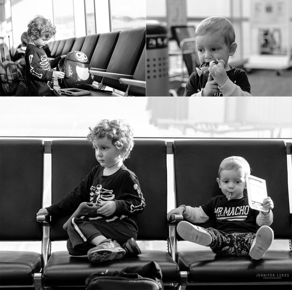 Black and white photos of kids from Bellevue awaiting their flight to Hawaii at Seatac Airport.