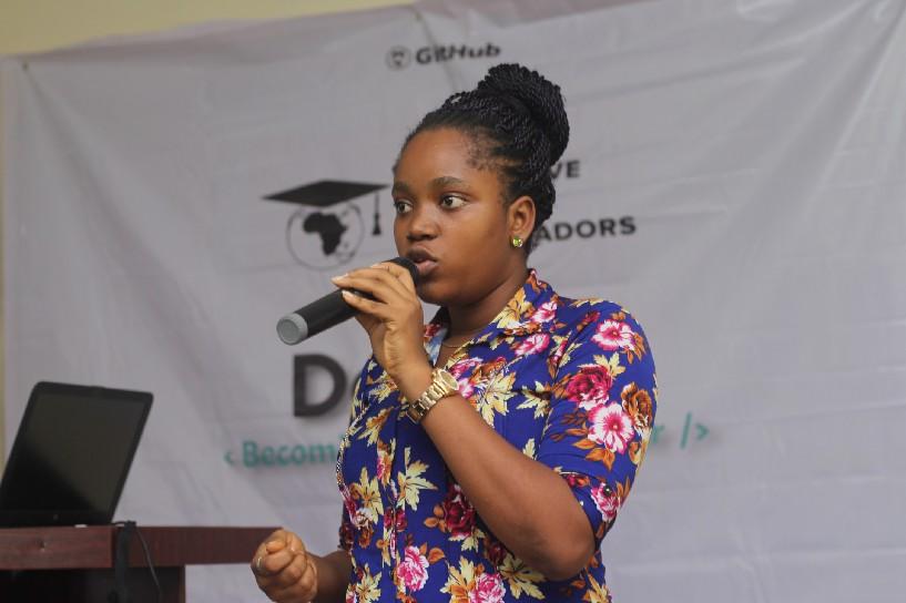 Miss Queen a member of  women tech makers speaking  on Digital marketing skills