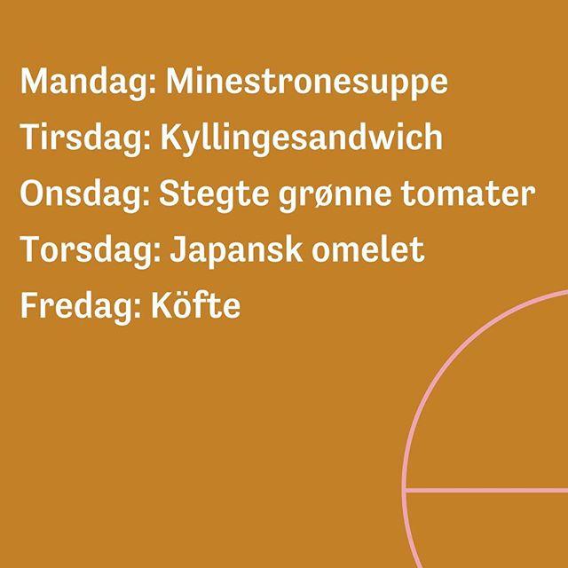 Ugens frokostretter i grove træk. Serveres i Caféteriet ml. 11-13. . . . #ugensmenu #dagensret #frokost #cafeteria #frokostordning #økologi