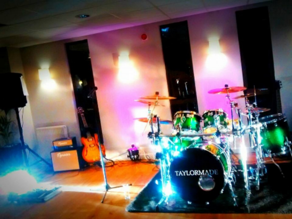 Taylormade Live Band set up with the acoustic drum kit at Ashorne Hill House Wedding Venue, Warwickshire.